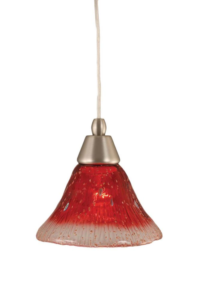 Concord 1-Light Ceiling Brushed Nickel Pendant with a Raspberry Crystal Glass