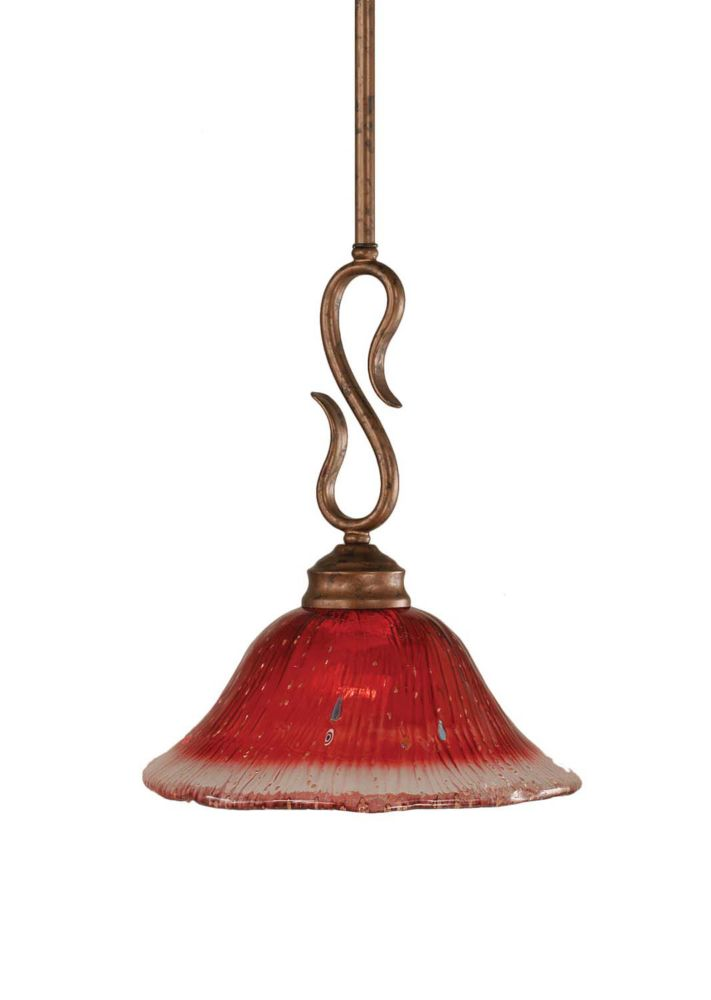 Concord 1 Light Ceiling Bronze Incandescent Pendant with a Raspberry Crystal Glass