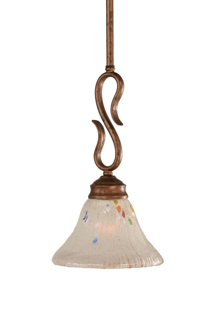 Concord 1-Light Ceiling Bronze Pendant with a Frosted Crystal Glass