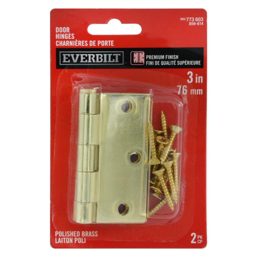 3-inch Polished Brass Door Hinge (2 Pack)