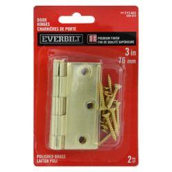 Everbilt 3-inch Polished Brass Door Hinge (2-Pack)