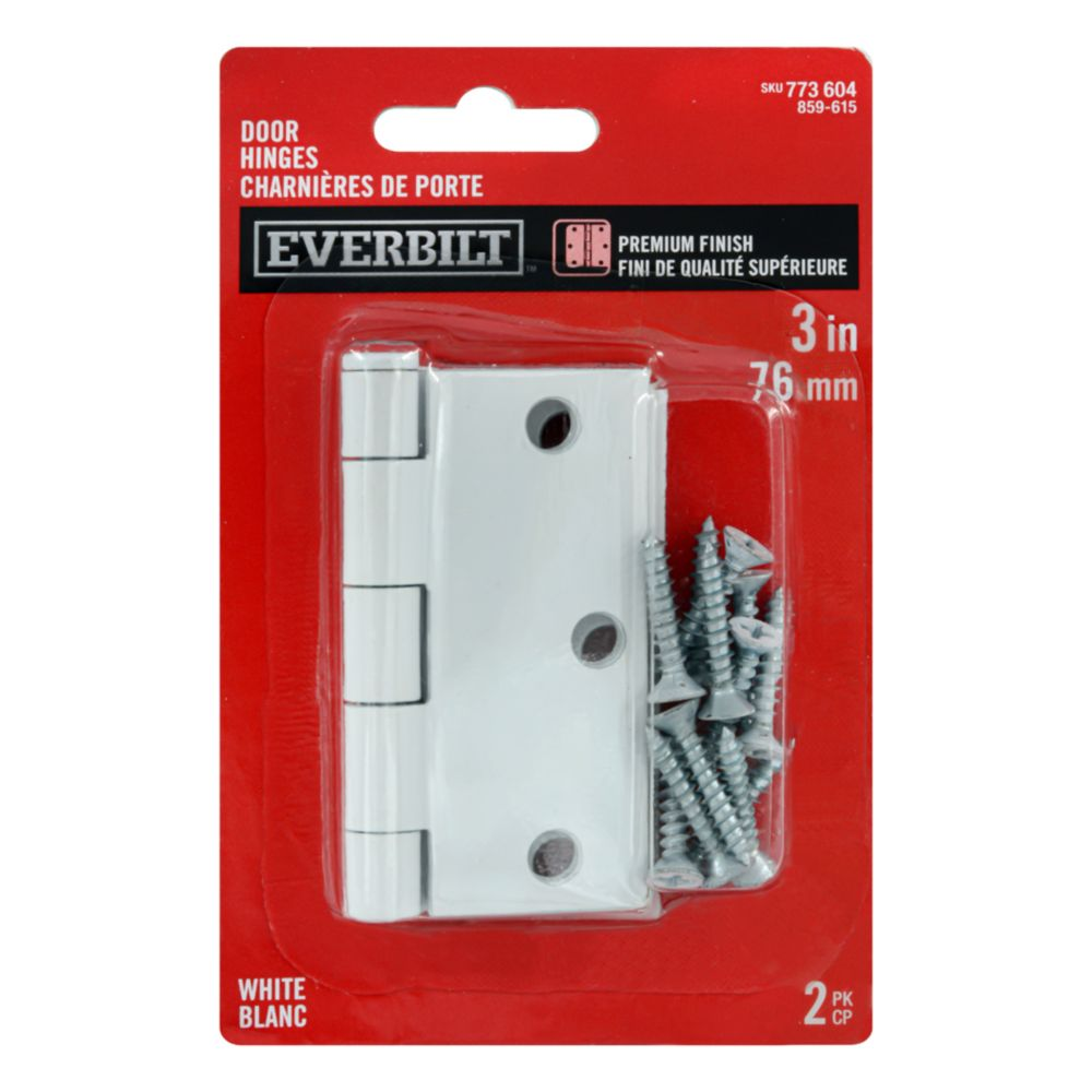 3-inch White Door Hinge (2 Pack)