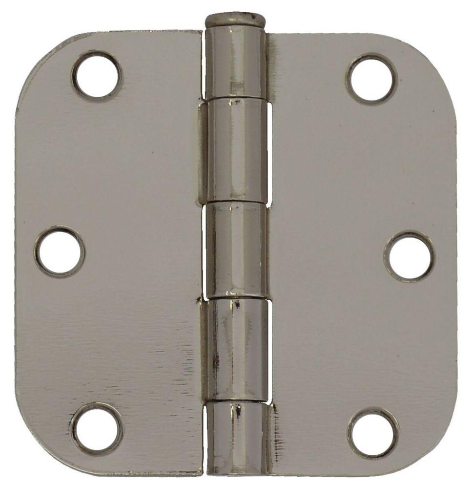 3-inch Bright Nickel 5/8rd Door Hinge (2 Pack)
