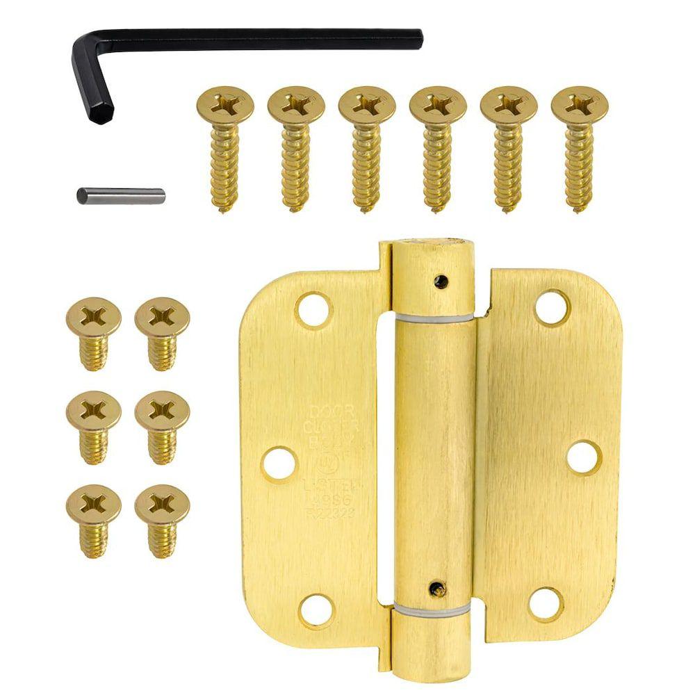 Everbilt 3-1/2 Inch  Satin Brass 5/8rd Closing Hinge