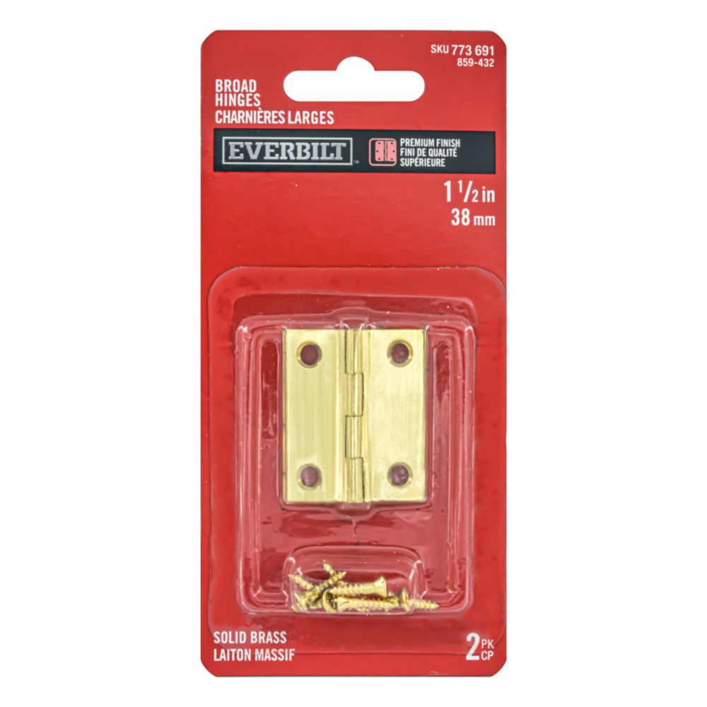 1-1/2 Inch Solid Brass Broad Hinge 2pk 859-432 Canada Discount