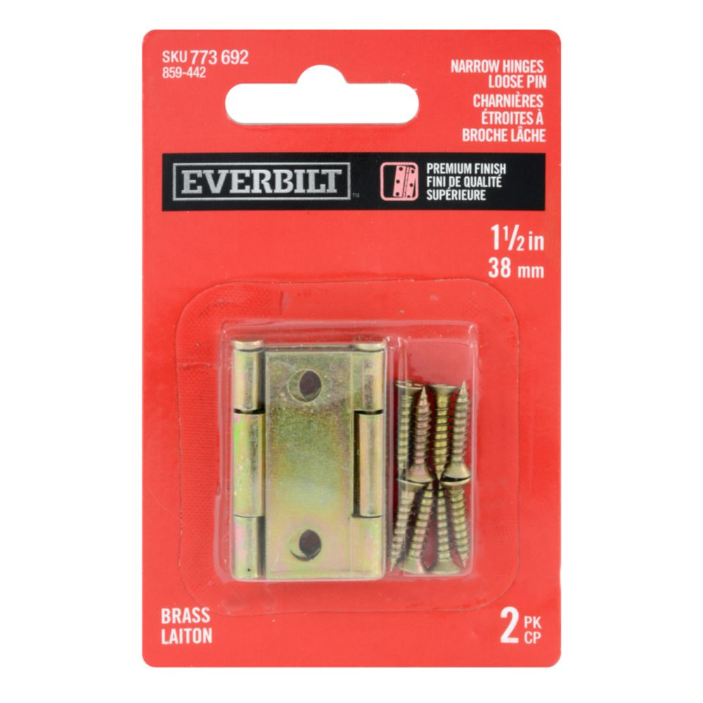 1-1/2 Inch  Brass Narrow Hinge Loose Pin 2pk