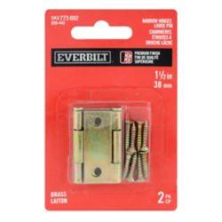 Everbilt 1-1/2 Inch Brass Narrow Hinge Loose Pin (2-Pack)
