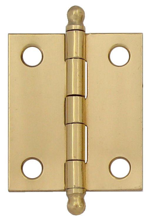 1-1/2 Inch  Solid Brass Narrow Hinge Fixed Pin 2pk