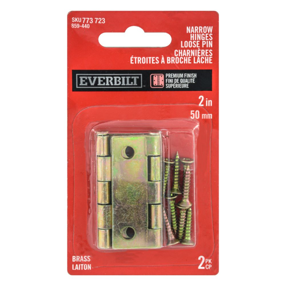 2 Inch Brass Narrow Hinge Loose Pin 2pk 859-440 Canada Discount