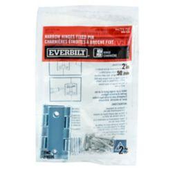 Everbilt 2 Inch Zinc Narrow Hinge Fixed Pin (2-Pack)