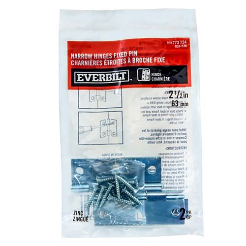 Everbilt 2-1/2 Inch Zinc Narrow Hinge Fixed Pin (2-Pack)