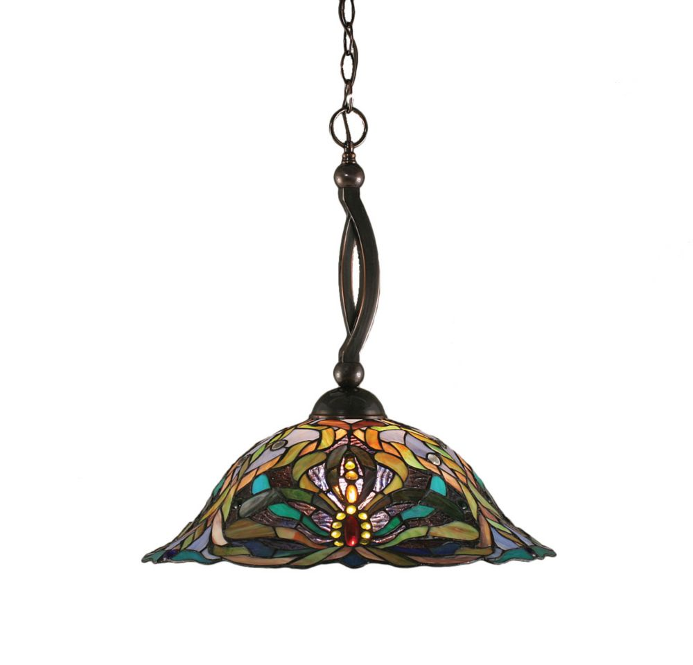 Concord 1-Light Ceiling Black Copper Pendant with Kaleidoscope Tiffany Glass