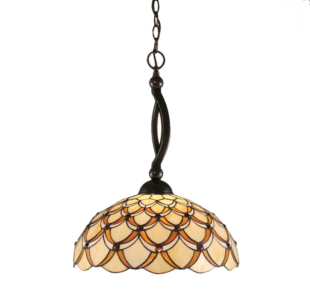 Concord 1-Light Ceiling Black Copper Pendant with a Honey and Brown Tiffany Glass