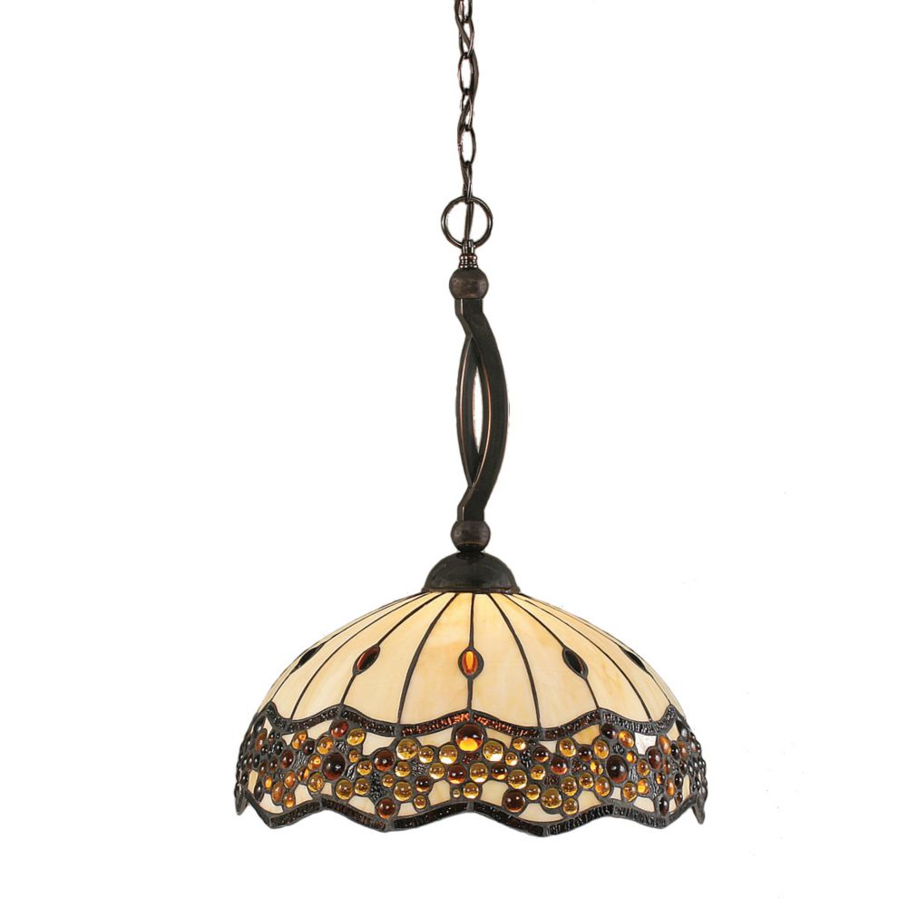 Concord 1 Light Ceiling Black Copper Incandescent Pendant with a Roman Jewel Tiffany Glass