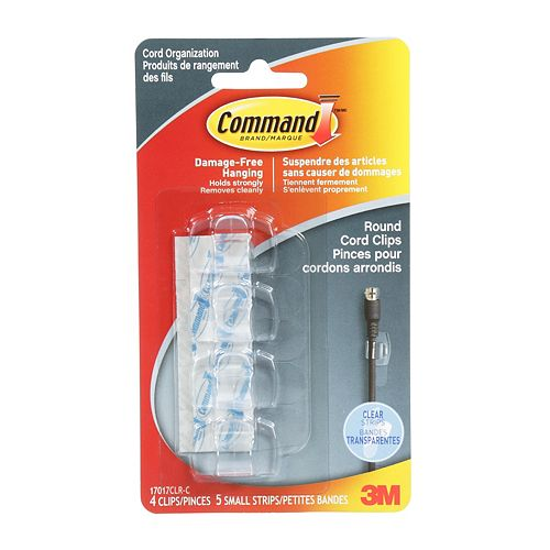 Command Round Cord Clips, 17017CLR-C, clear