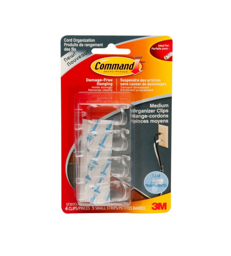 Command(TM) Clear Medium Cord Organizers with Clear Strips