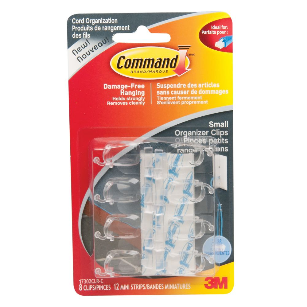Command(TM) Clear Small Cord Organizers with Clear Strips