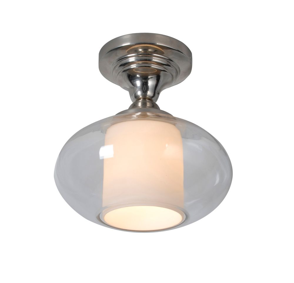 Kitchen Light Fixtures Home Depot: Hampton Bay 1-Light Glass Semi-Flushmount Ceiling Light