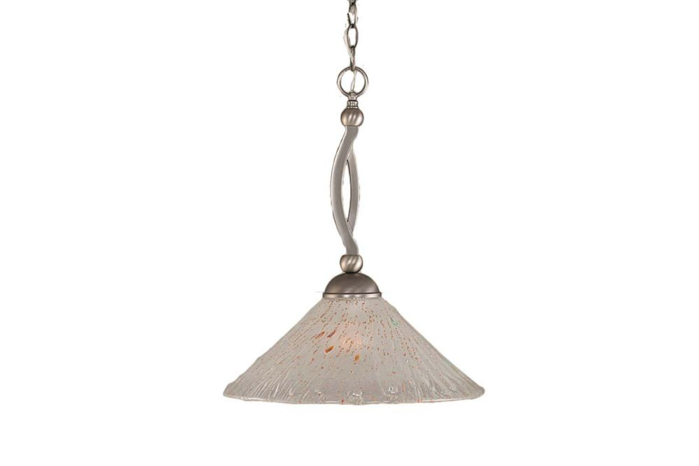 Filament Design Concord 1 Light Ceiling Brushed Nickel Incandescent Pendant with a Frosted Crystal Glass