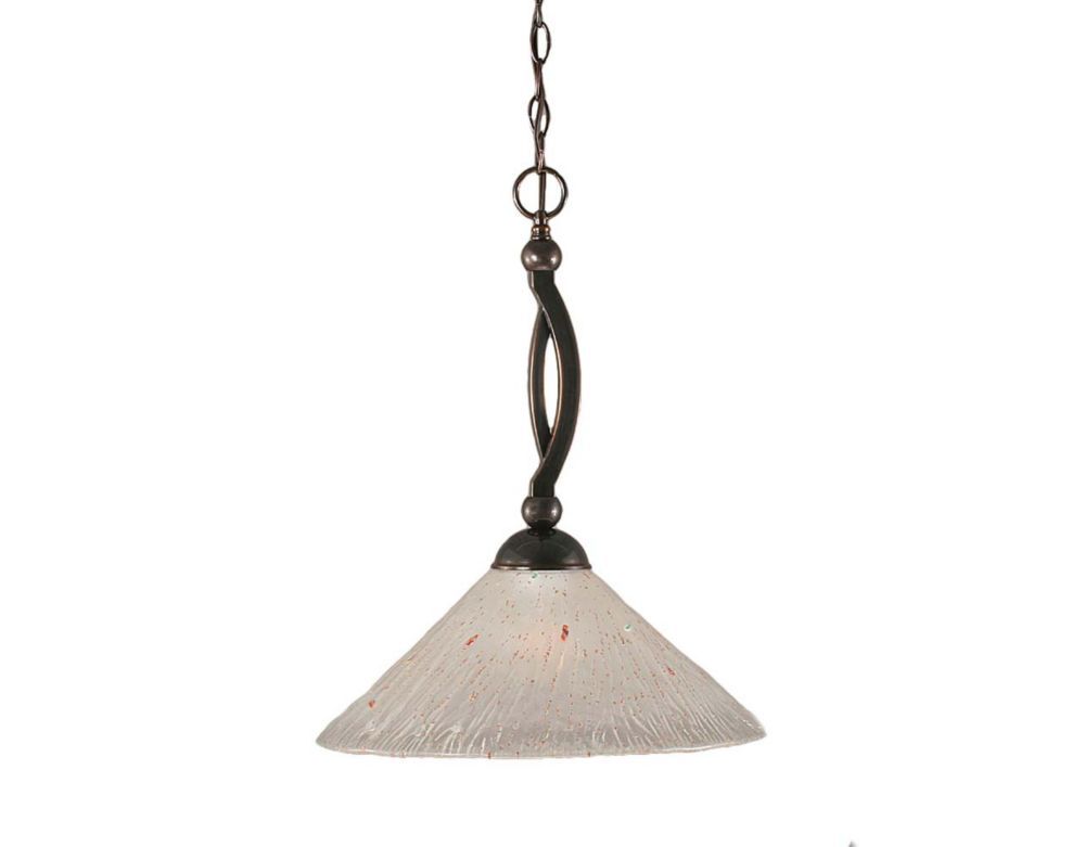 Filament Design Concord 1 Light Ceiling Black Copper Incandescent Pendant with a Frosted Crystal Glass