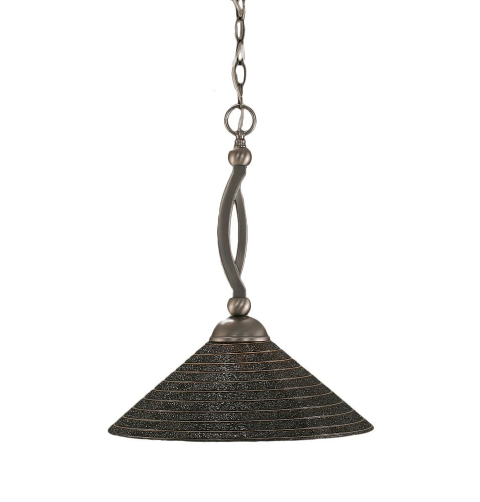 Concord plafond à 1 Lumière brossé Nickel Pendeloque à incandescence d'une spirale en verre de ch...