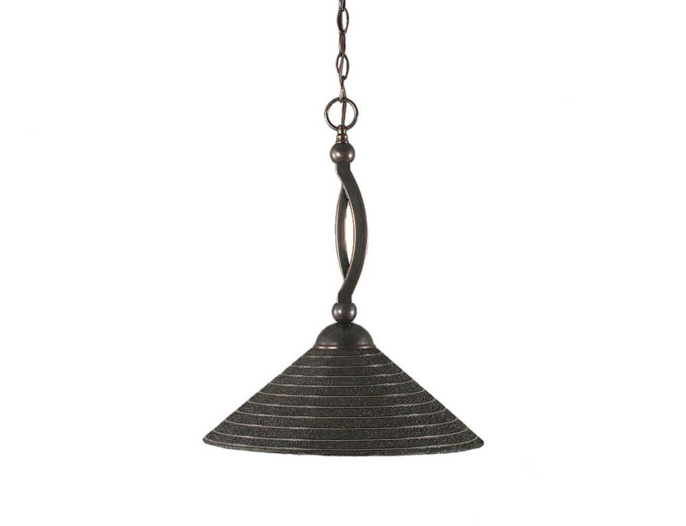 Concord 1 Light Ceiling Black Copper Incandescent Pendant with a Charcoal Spiral Glass