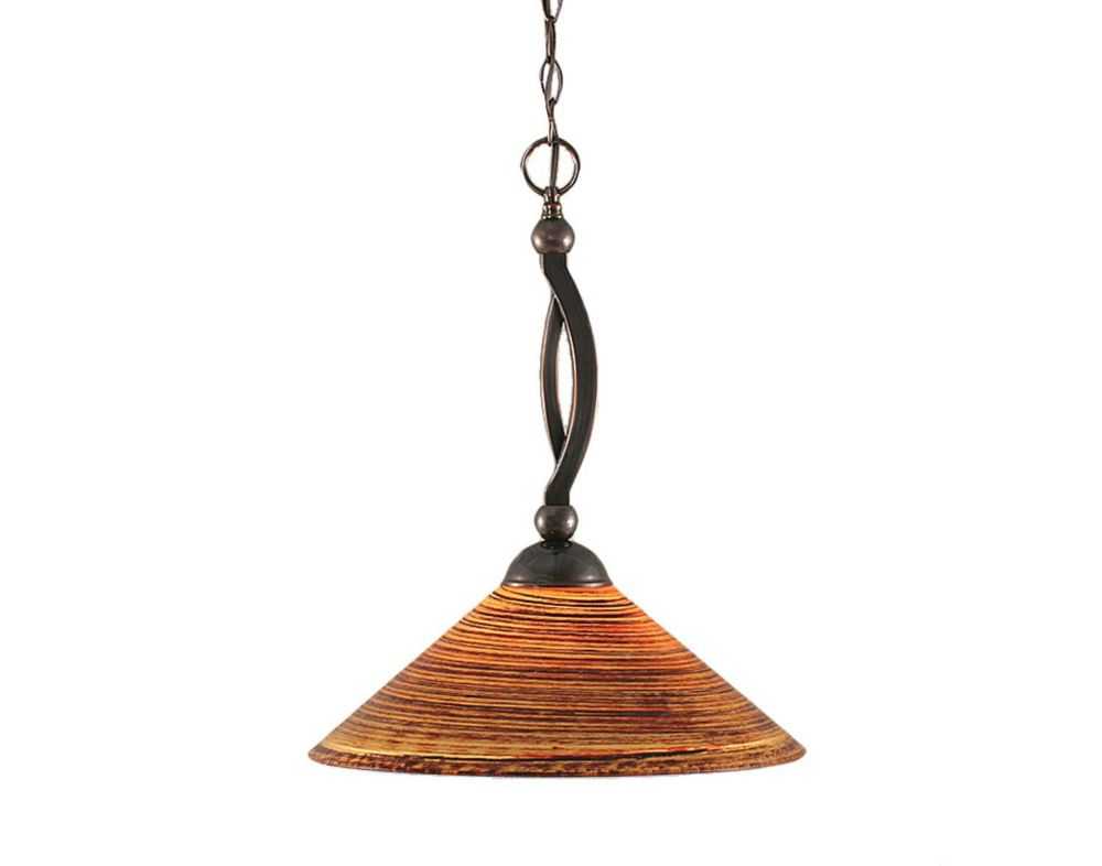 Concord 1 Light Ceiling Black Copper Incandescent Pendant with a Firré Saturn Glass
