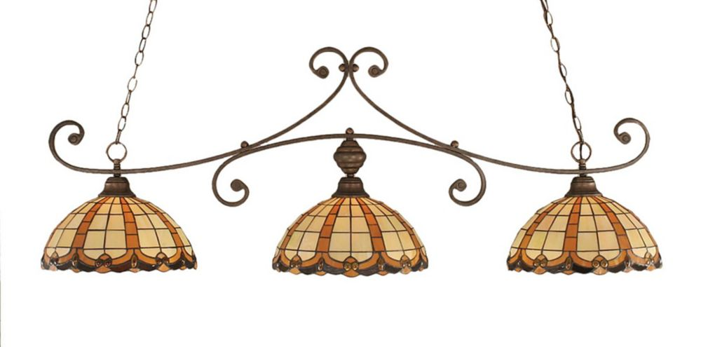 Concord 3 Light Ceiling Bronze Incandescent Billiard Bar with a Butterscotch Tiffany Glass