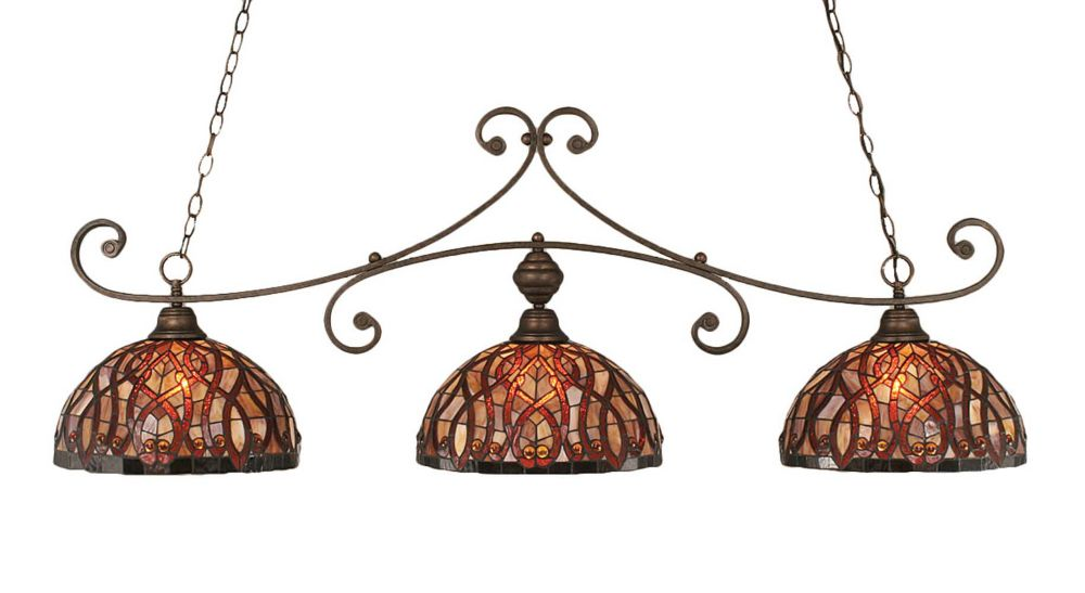 Concord 3-Light Ceiling Bronze Billiard Bar with a Persian Nites Tiffany Glass