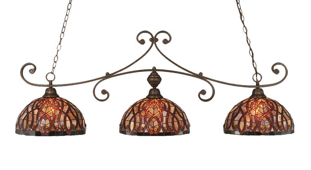 Concord 3 lumières plafond Bronze Incandescent Bar Billard Avec Un Persan Nites Le verre selon Ti...