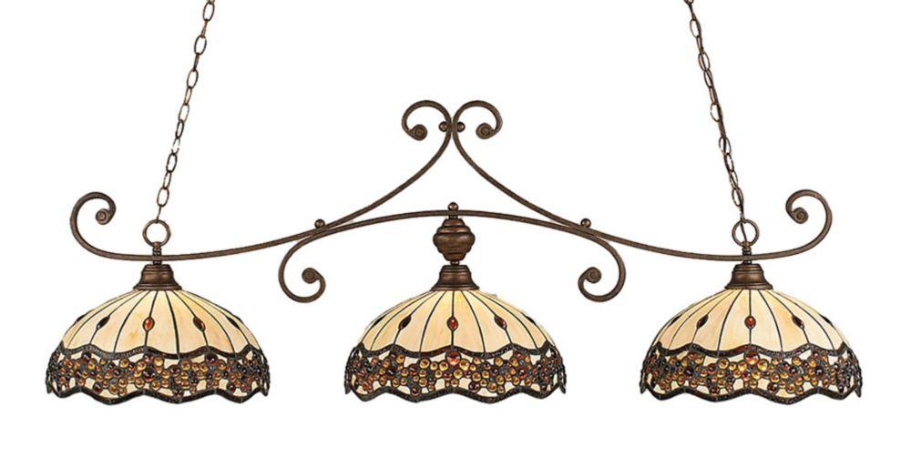 Concord 3-Light Ceiling Bronze Billiard Bar with a Roman Jewel Tiffany Glass