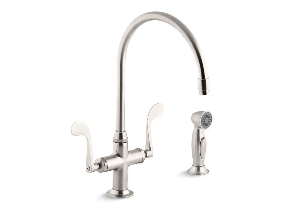 KOHLER Essex Kitchen Sink Faucet With Wristblade Handles And Sidespray