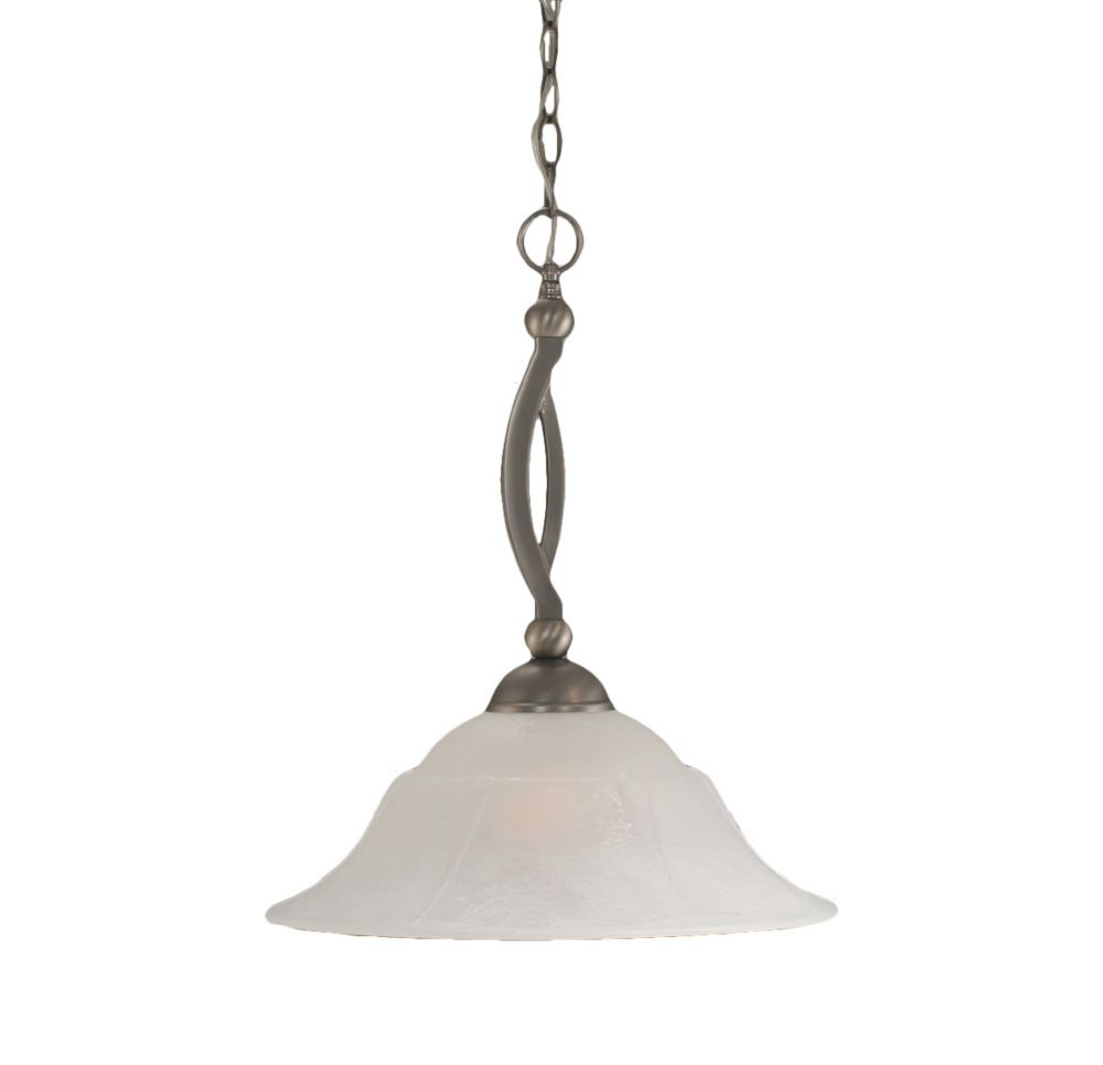 Concord plafond à 1 Lumière brossé Nickel Pendeloque à incandescence avec un verre de marbre blan...