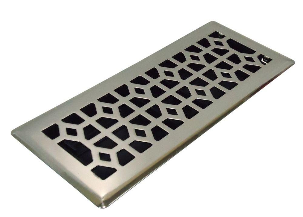 4x12 Designer Abstract Brushed Nickel Floor Register 87600 Canada Discount