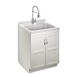 GLACIER BAY Deluxe All in One 28-inch 2-Door Laundry Cabinet with ABS Basin and Dual Spray Faucet