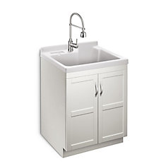 Deluxe All In One 28 Inch 2 Door Laundry Cabinet With Abs Basin And