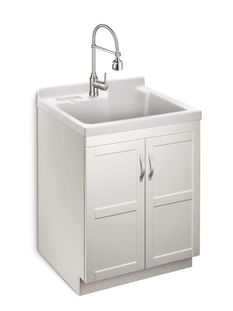 Glacier Bay Deluxe All In One 28 Inch 2 Door Laundry Cabinet With Abs Basin And Dual Spray Faucet The Home Depot Canada