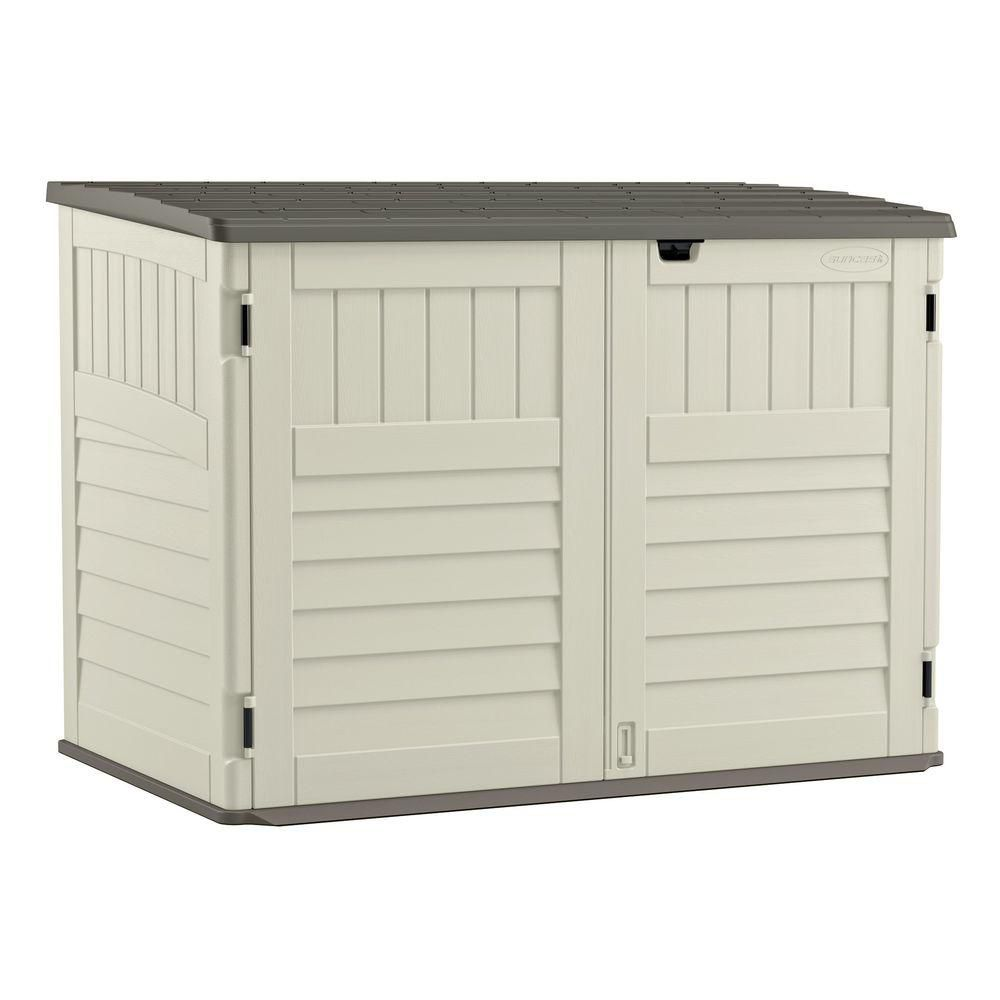 suncast blow molded horizontal storage shed the home