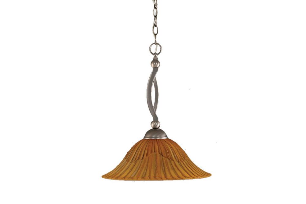Concord 1 Light Ceiling Brushed Nickel Incandescent Pendant with a Tiger Glass