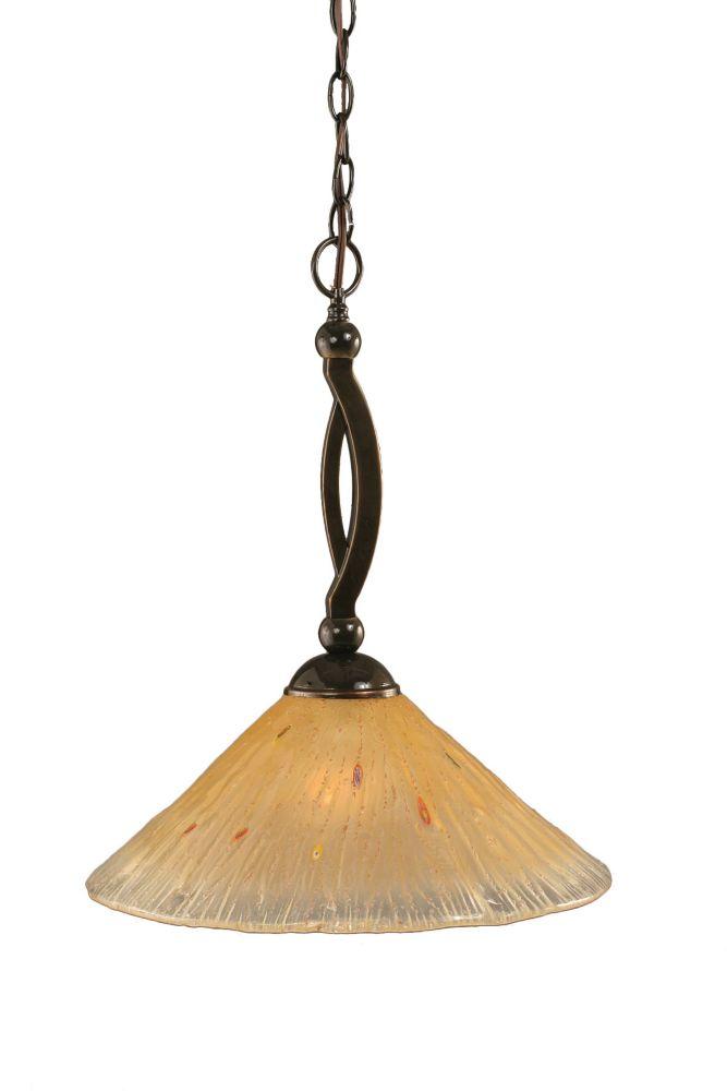 Concord 1 lumière au plafond Onyx Pendeloque incandescence par un verre ambre