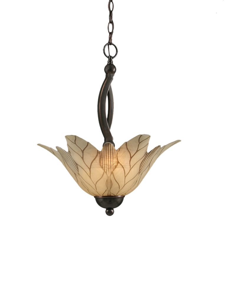 Concord 2 Light Ceiling Black Copper Incandescent Pendant with a Vanilla Leaf Glass
