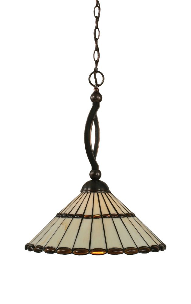 Concord 1 Light Ceiling Black Copper Incandescent Pendant with a Honey and Brown Tiffany Glass