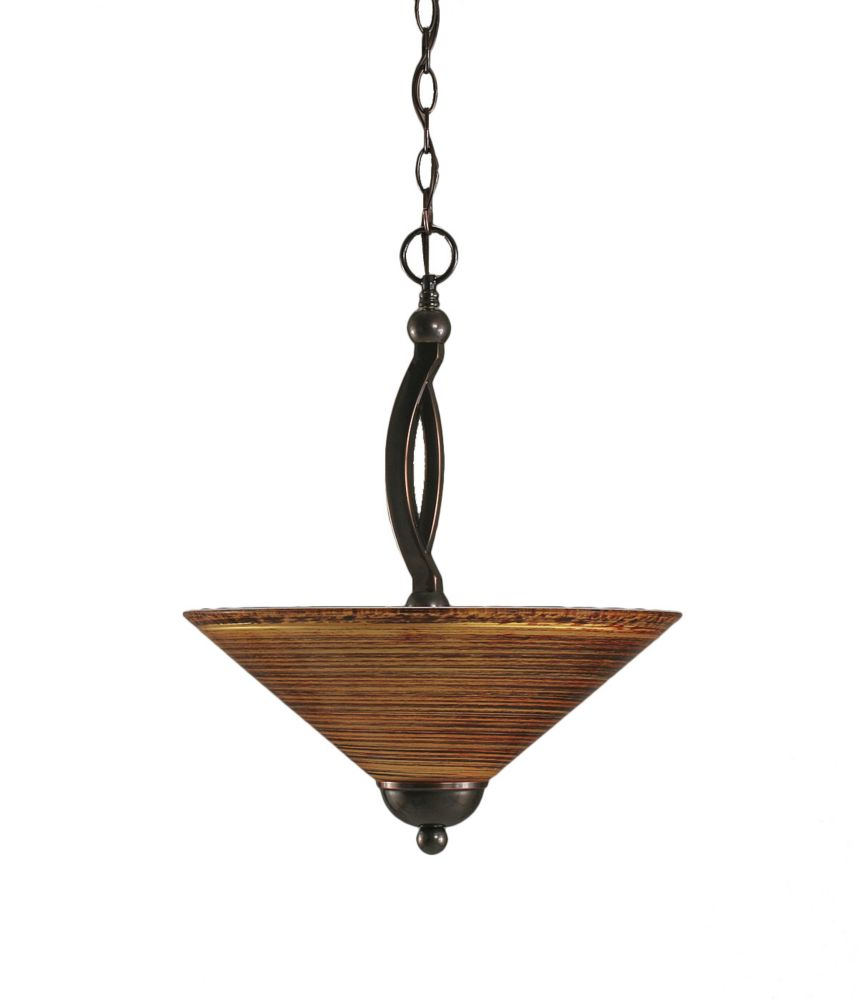 Concord 2-Light Ceiling Black Copper Pendant with a Firré Saturn Glass