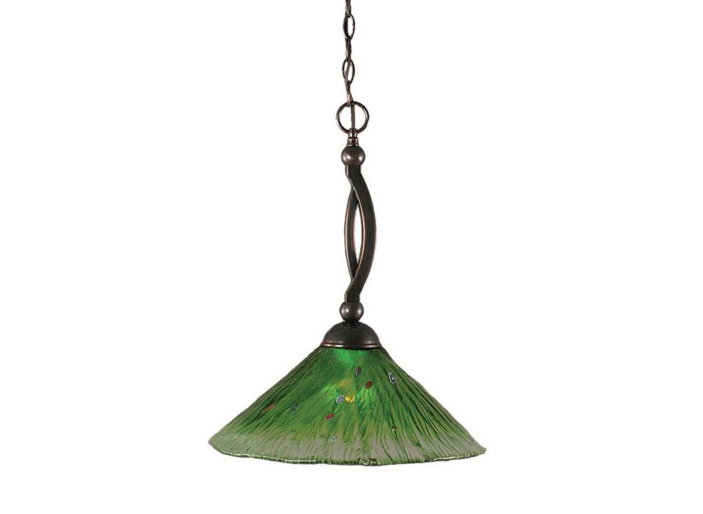 Concord 1-Light Ceiling Black Copper Pendant with a Green Crystal Glass