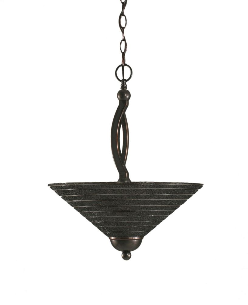 Concord 2 Light Ceiling Black Copper Incandescent Pendant with a Charcoal Spiral Glass