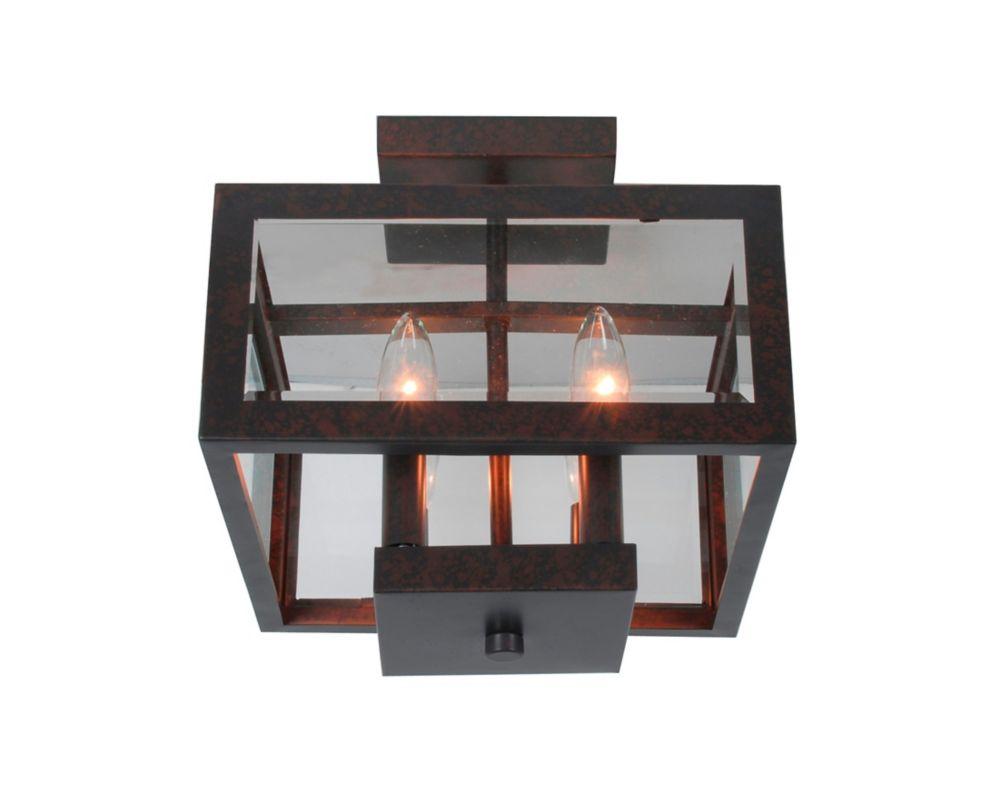 Semi-plafonnier en bronze huilé et panneaux de verre Tallarook à 4 lumières
