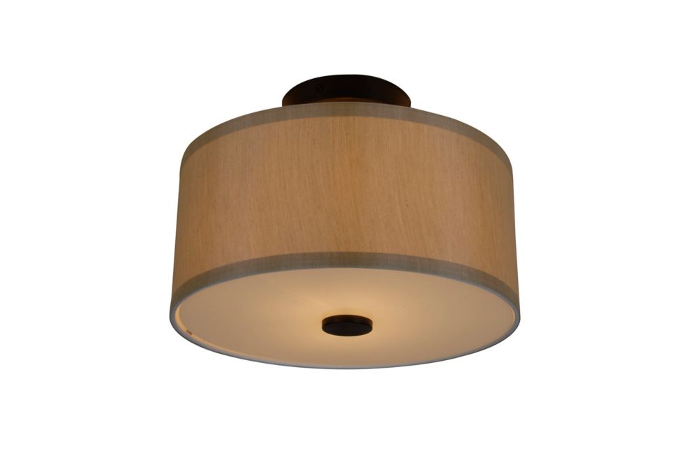 Hampton Bay Glenburn 2-Light Semi-Flushmount Drum Light Fixture in Oil-Rubbed Bronze with Fabric Shade