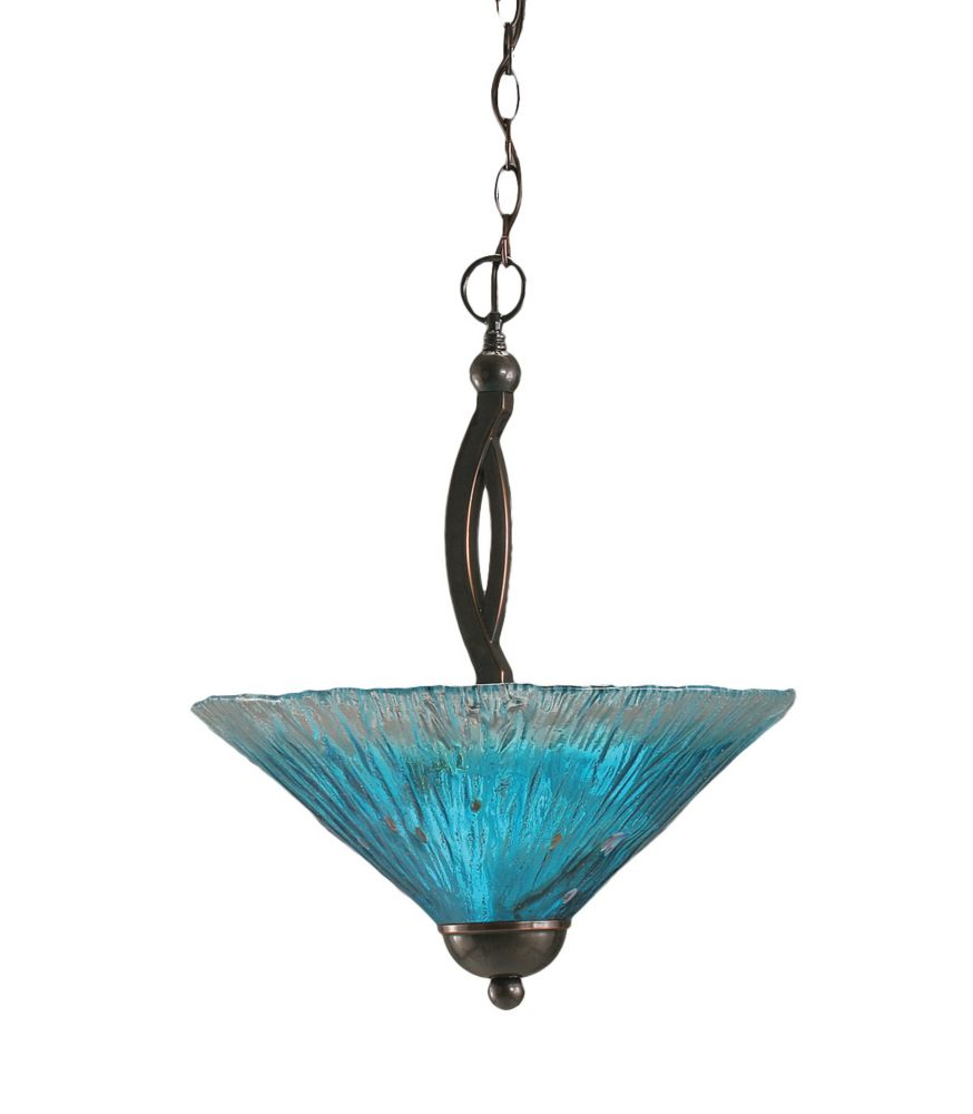 Concord 2 Light Ceiling Black Copper Incandescent Pendant with a Teal Crystal Glass