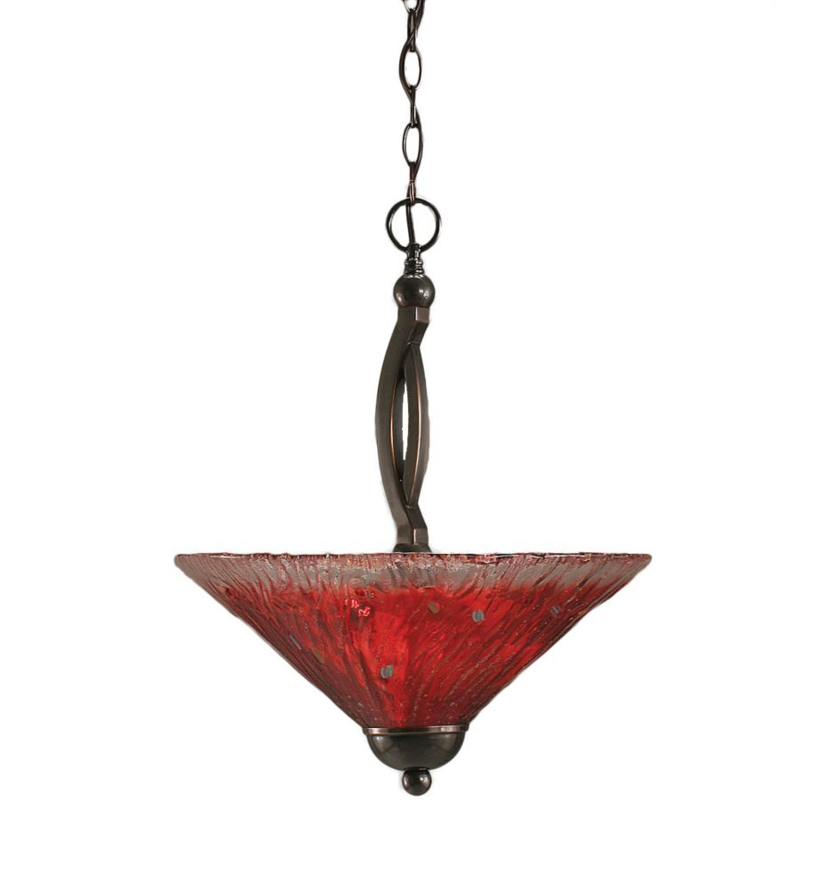 Concord 2 Light Ceiling Black Copper Incandescent Pendant with a Raspberry Crystal Glass