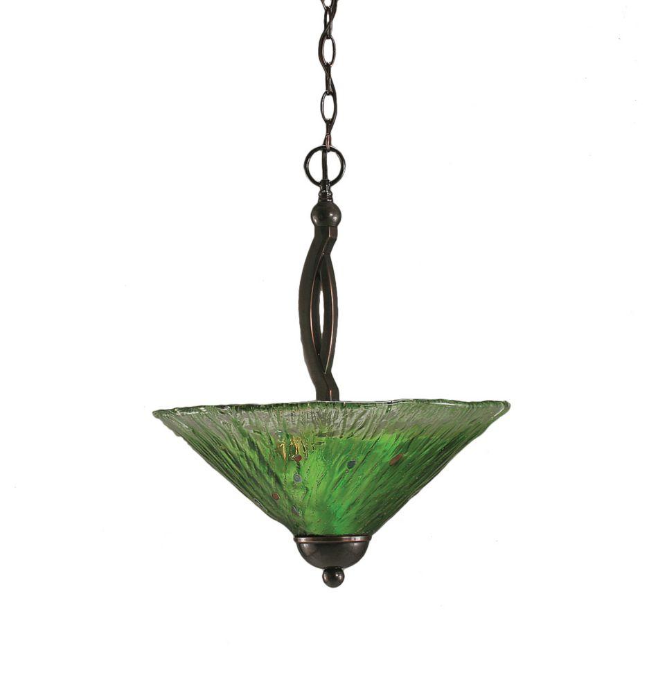 Concord 2 lumières plafond Noir Copper Pendeloque à incandescence avec un cristal en verre vert
